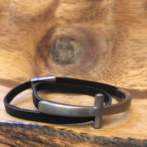 Double Wrap Leather Bracelet With Sideways Cross